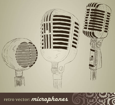 retro microphone: Retro set: Microphones in doodle style Illustration
