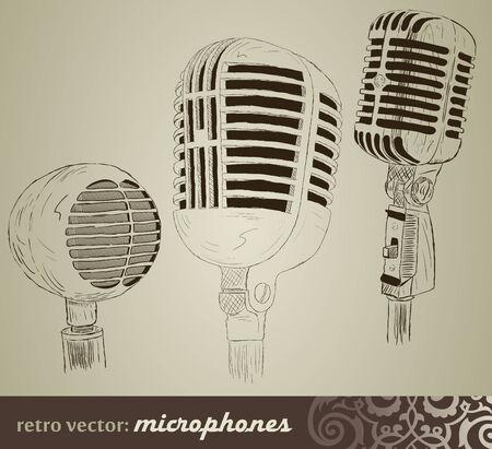 microphone retro: Retro set: Microphones in doodle style Illustration