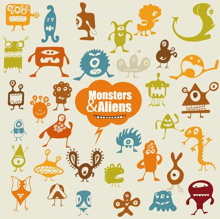 devil horns: Many cute doodle monsters Illustration