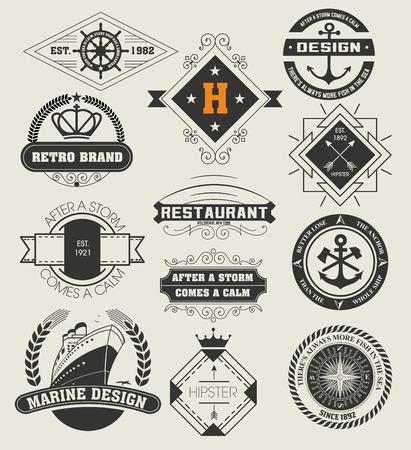 ancre marine: Insignes Vintage  logotypes fix�s. Vector design �l�ments, logos, identit�, des objets, des �tiquettes et badges.