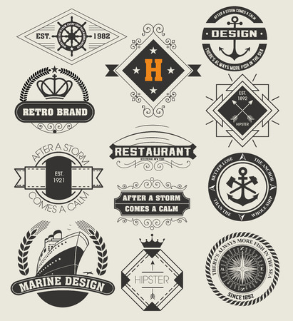 Vintage Insignias / logotypes set. Vector design elements, logos, identity, objects, labels,and badges. Stock Illustratie