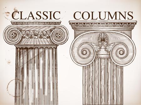 doric: Classical column background set.