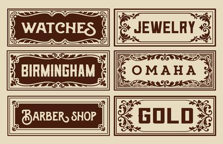 Old advertisement banners - Vintage illustration Vector