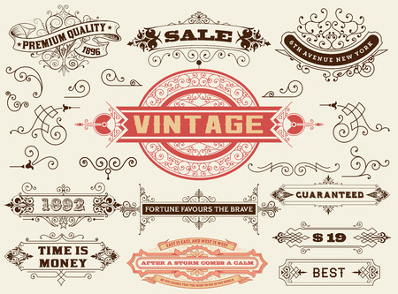 nostalgic: Design elements: Labels, banners, baroque frames and floral ornaments collection