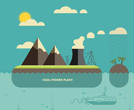 coal plant: Ecology Concept. Environment, Green Energy and Nature Pollution Design. Coal power Plant and oil towers. Flat Style.