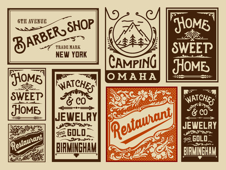 vintage newspaper: Old advertisement designs - Vintage illustration