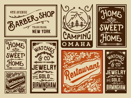 oude krant: Oude reclame ontwerpen - Vintage illustratie Stock Illustratie