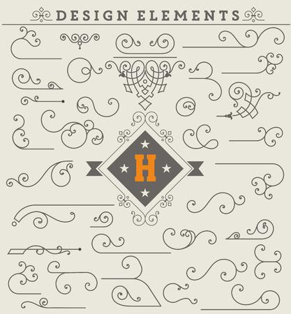 szüret: Vintage díszek dekoráció design elemek. Vektorkészlet