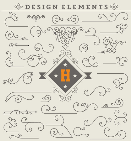 flourishes: Vintage Ornaments Decorations Design Elements.  Vector stock