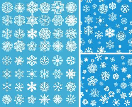snowflake set: 2 Snowflakes Seamless Background with snowflakes set Illustration