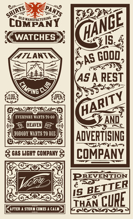 old newspaper: Old advertisement designs - Vintage illustration
