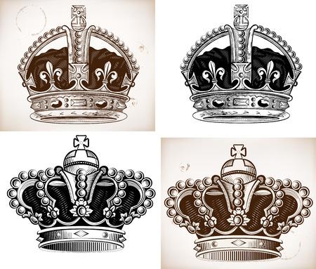 crown tattoo: Crowns set. Vector file Illustration