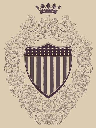 ephemera: Vintage frame with American shield. Vector. Illustration