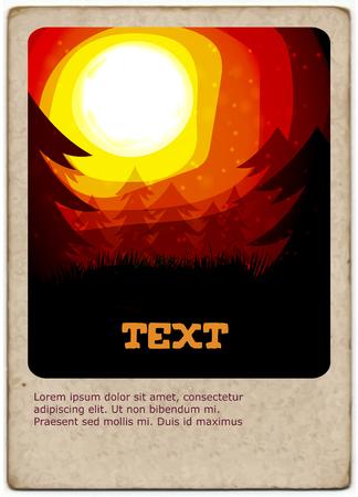 overlook: Golden Sunset card  - Vector Illustration Illustration