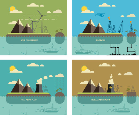 pollution: Ecology Concept. Environment, Green Energy and Nature Pollution Designs. Nuclear, coal, wind turbines power Plants and oil towers. Flat Style.