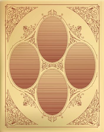 ephemera: Disegno di scheda con incisione. Organizzato da strati. Vettoriali