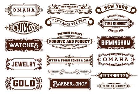 verschnörkelt: 17 Etiketten und Banner. Vektor