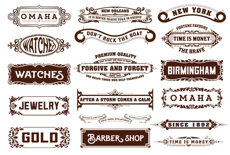 victorian: 17 Labels and banners. Vector Illustration