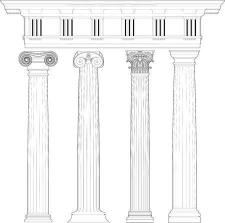 arcos de piedra: columnas clásicas establecen