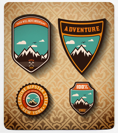 scouts: vector. Adventure badge set.All items in layers Illustration