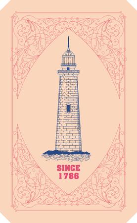 ephemera: Lighthouse card. Organized by layers
