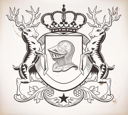 heraldic shield: Heraldic shield. Crown and helmet elements