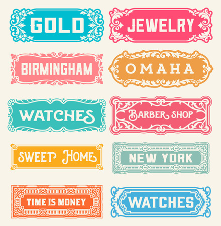 victorian: 10 Labels and banners. Vector