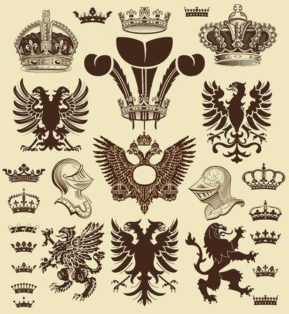 cross and eagle: Vector. Heraldic elements. Elements organized by layers. Illustration