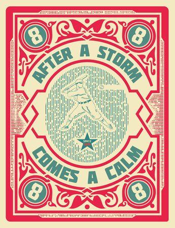 beisbol: Vieja tarjeta de béisbol retro. organizado por capas Vectores