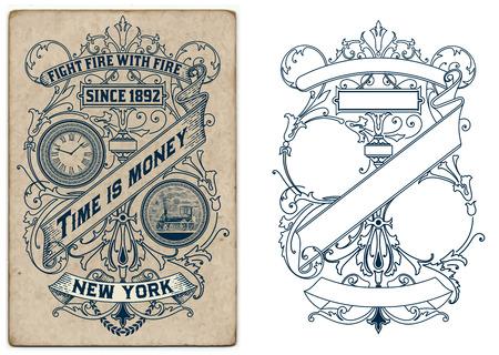 vintage: Diseño del Viejo con detalles florales. Elementos organizados por capas.