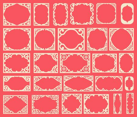 espejo: Conjunto de marcos vintage negro, elementos de dise�o