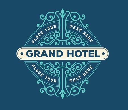 vintage logo template, Hotel, Restaurant, Business or Boutique Identity. Design with Flourishes Elegant Design Elements. Royalty, Heraldic style .Vector Illustration Logo