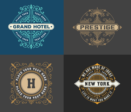 vintage sign: vintage icon template, Hotel, Restaurant, Business or Boutique Identity. Design with Flourishes Elegant Design Elements. Royalty, Heraldic style .Vector Illustration
