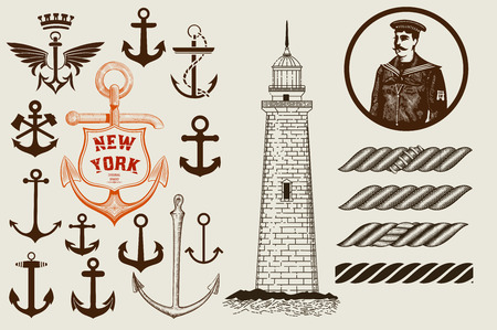 anchor man: Set of marine and nautical elements. Vector