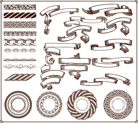 rope border: Banners and brushes kit, 29 elements Illustration