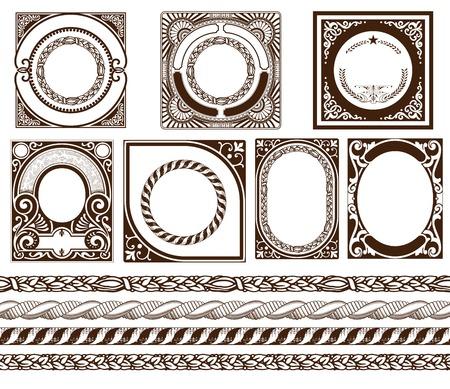 baroque: Fije las tarjetas barrocas con adornos y detalles florales
