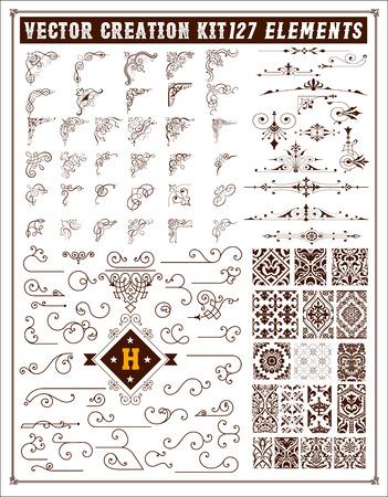 デザインの要素。コーナー、アクセントおよびパターンのセット