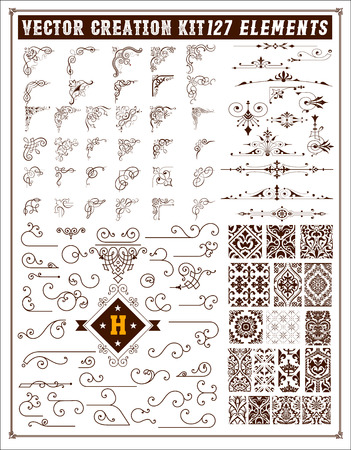 Elements for design. Corners, accents and patterns set Illustration