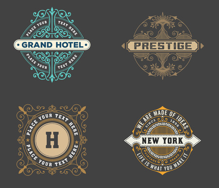 vintage logo template, Hotel, Restaurant, Business or Boutique Identity. Design with Flourishes Elegant Design Elements. Royalty, Heraldic style .Vector Illustration Vector