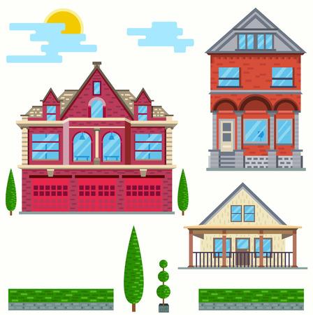 tree service pictures: Vector flat illustration. Set of urban and village elements. Illustration