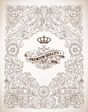 couronne royale: Vector, Retro frame Illustration