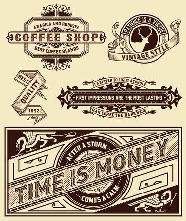 the label: Set of retro labels. Vector Illustration