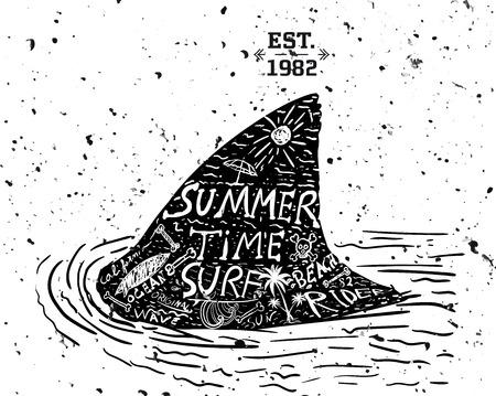 finger fish: Summer design, grunge style