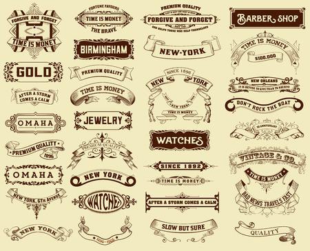 vintage: Mega pack av etiketter och banderoller Illustration