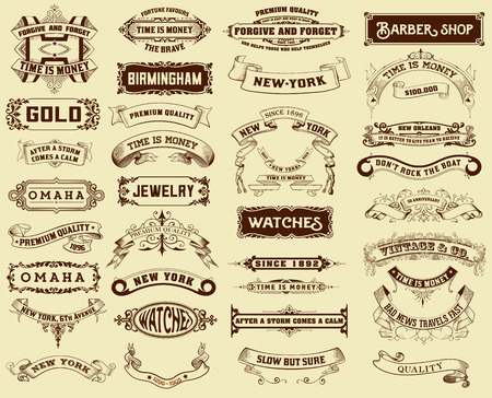 vintage backgrounds: Mega pack of labels and banners