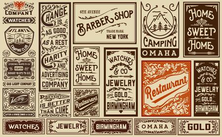 pergamino: Mega Pack diseños anuncio viejo y etiquetas - ilustración de la vendimia
