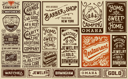 antique fashion: mega pack old advertisement designs and labels - Vintage illustration