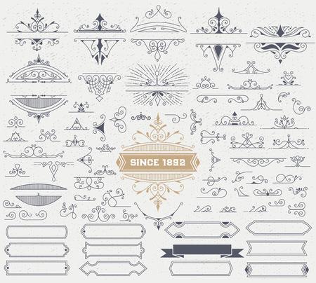 vintage: Kit d'éléments vintage pour des invitations, bannières, affiches, pancartes, badges ou. Illustration