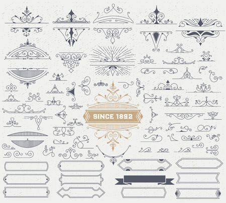 corner ornament: Kit of Vintage Elements for Invitations, Banners, Posters, Placards, Badges or .