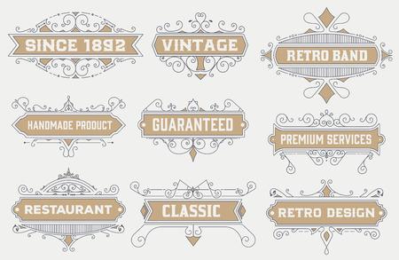 évjárat: szüret logó sablon, szállodai, éttermi, üzleti azonosító beállítva. Tervezés Flourishes Elegáns design elemek. Royalty. Vektor illusztráció
